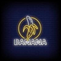 Bananen-Neonzeichen-Stiltextvektor vektor