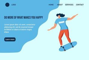 Eine junge Frau oder ein Teenager fährt Skateboard. tue mehr von dem, was dich glücklich macht. Website Homepage Landing Webseite Vorlage. flache Vektorillustration. vektor