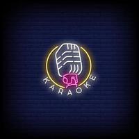 Karaoke Neon Zeichen Stil Text Vektor