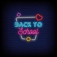 tillbaka till skolan neonskyltar stil text vektor