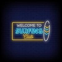 Välkommen till surfing club neonskyltar stil text vektor