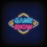 Spielshow Leuchtreklamen Stil Textvektor vektor