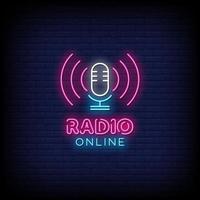 Radio Online Leuchtreklamen Stil Text Vektor