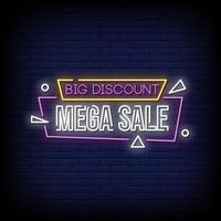 großer Rabatt Mega Sale Leuchtreklamen Stil Text Vektor