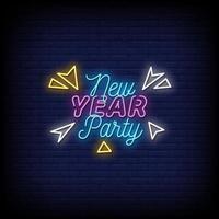 Neujahrsparty Leuchtreklamen Stil Textvektor vektor