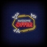 fantastisches Angebot Neonzeichen Stil Textvektor vektor