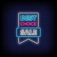 beste Wahl Verkauf Leuchtreklamen Stil Text Vektor