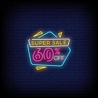 super försäljning neon skyltar stil text vektor