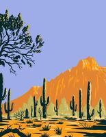 Saguaro-Kaktus oder Carnegiea gigantea im Nationaldenkmalabschnitt des Eisenholzwaldes der Sonora-Wüste in Arizona wpa Plakatkunst vektor