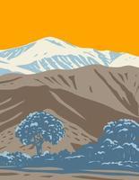 Sand zu Schnee Nationaldenkmal in Südkalifornien bedeckt San Bernardino Berge Mojave Wüste und Colorado Wüste Wpa Plakatkunst vektor