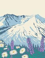 Das nationale Vulkandenkmal des Mount St. Helens innerhalb des Gifford Pinchot National Forest in der WPA-Plakatkunst des Staates Washington vektor