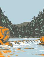 Das Katahdin Wald- und Wasser-Nationaldenkmal im nördlichen Penobscot County Maine, einschließlich eines Abschnitts der WPA-Plakatkunst des East Branch Penobscot River vektor
