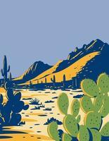Feigenkaktus oder Opuntie, die im Nationaldenkmal des Eisenwaldes wachsen, gelegen in der Sonora-Wüste von Arizona wpa Plakatkunst vektor