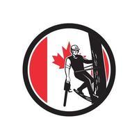 arborist träd motorsåg Kanada maskot vektor