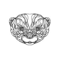Otter-Gekritzelkunst mit kleinen Krallen vektor