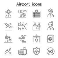 flygplats, flyg Ikonuppsättning i tunn linje stil