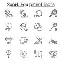 sportutrustning ikoner i tunn linje stil