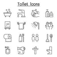 badrum ikonuppsättning i tunn linje stil vektor