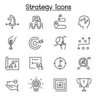 strategi och hyvling ikonuppsättning i tunn linje stil vektor