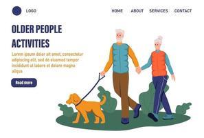 Seitenvorlage für Aktivitäten älterer Menschen. Ein älteres Ehepaar geht mit seinem Hund im Park spazieren. das Konzept des aktiven Alters. Tag der älteren Menschen. flache Vektorillustration vektor