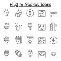 Satz von steckerbezogenen Vektorliniensymbolen. enthält Symbole wie Steckdose, Steckdose, Ladung, Steckdose, Draht, Kabel, Kabel, Stift und mehr. vektor