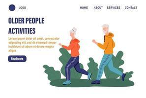 Seitenvorlagen für Aktivitäten älterer Menschen. älteres Ehepaar, das im Park läuft. das Konzept des aktiven Alters. Tag der älteren Menschen. flache Vektorillustration vektor