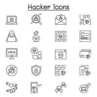 uppsättning hackerrelaterade vektorlinjeikoner. innehåller sådana ikoner som spion, virusdator, skadlig kod, skräppost, brandvägg, datasäkerhet, lösenord, applikation, stjäla och mer. vektor
