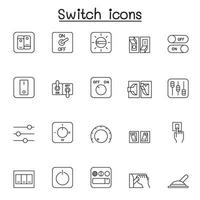 växla ikonuppsättning i tunn linje stil vektor