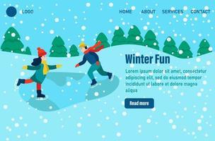 Winterspaß Landingpage Vorlage. Kinder in Winterkleidung oder Oberbekleidung, die Spaß an Outdoor-Aktivitäten haben. Schneefest oder Eislaufen. flache Vektorillustration vektor