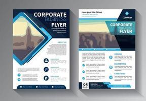 blå flygblad affärsmall uppsättning vektor