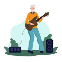 Ein älterer Mann spielt Gitarre in einem Park. das Konzept des aktiven Alters. Tag der älteren Menschen. flache Karikaturvektorillustration. vektor