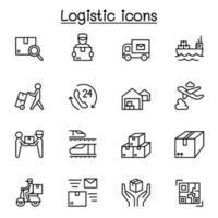 logistik- och leveransikoner i tunn linje vektor
