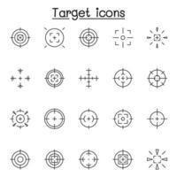 Satz ziel- und zielbezogener Vektorliniensymbole. enthält Symbole wie Fadenkreuz, Scharfschützenfernrohr, Schießspiel, Radar und mehr vektor