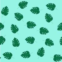 sömlösa sommar mönster, monstera blad på en turkos bakgrund. platt vektorillustration vektor