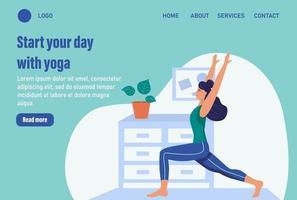 Beginnen Sie Ihren Tag mit Yoga. Website Homepage Landing Webseite Vorlage. junge Frau macht Yoga zu Hause. das Konzept des täglichen Lebens, der täglichen Freizeit und der Arbeitstätigkeit. flache Karikaturvektorillustration. vektor