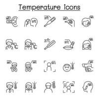temperaturikoner i tunn linje stil vektor