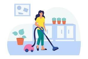 Eine junge Frau staubsaugt das Haus. das Konzept des täglichen Lebens, der täglichen Freizeit und der Arbeitstätigkeit. flache Karikaturvektorillustration. vektor