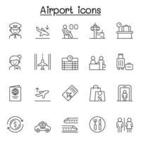 flygplats ikonuppsättning i tunn linje stil