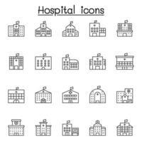 sjukhus ikonuppsättning i tunn linje stil vektor