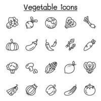 Gemüsesymbole in dünner Linie Stlye gesetzt vektor