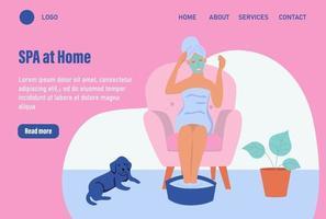 Spa zu Hause. Website Homepage Landing Webseite Vorlage. junge Frau macht eine kosmetische Maske. das Konzept des täglichen Lebens, der täglichen Freizeit und der Arbeitstätigkeit. flache Karikaturvektorillustration. vektor
