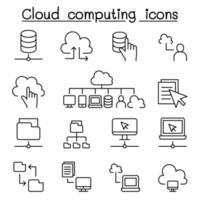 Cloud-Computing-Symbole im Stil einer dünnen Linie vektor