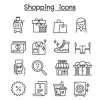 Einkaufssymbol im dünnen Linienstil eingestellt vektor