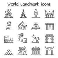 världens landmärke ikonuppsättning i tunn linje stil vektor