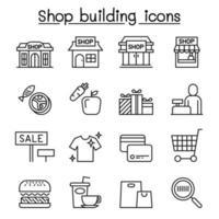 Ladengebäude, Einkaufszentrum, Supermarktikone im dünnen Linienstil vektor