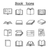 bok ikonuppsättning i tunn linje stil vektor