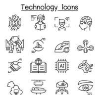 teknik ikonuppsättning i tunn linje stil vektor
