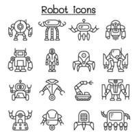 robot ikonuppsättning i tunn linje stil vektor
