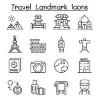 resa landmärke ikonuppsättning i tunn linje stil