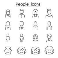 människor ikonuppsättning i tunn linje stil